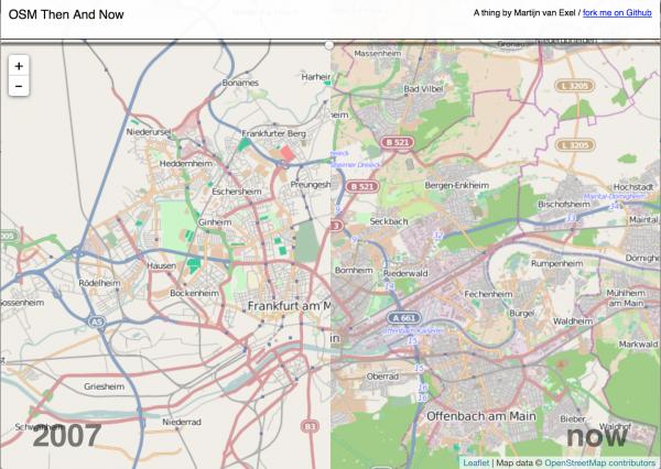 Screen Shot der Then and Now Visualisierung von Martijn van Exel